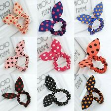 10 Pcs Rabbit Bunny Ear Polka Dot Hair Band Scrunchie Elastic Ponytail Holder