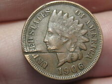 1906 Indian Head Cent Penny, XF Details, Diamonds, Full LIBERTY