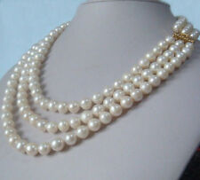 """3 strands natural 9-10mm akoya white pearl necklace 18""""20""""22"""" 14K gold clasp"""