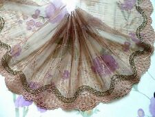 """1 Yard~7.5""""~Venice Embroidered Lace Trim Tulle Floral Bridal Doll Dress Brown"""