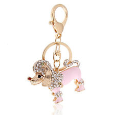 Handbag Buckle Charms Accessories Pink Poodle Dog Keyrings Key Chains HK22