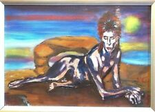 Rare David Bowie Diamond Dogs Oil on Canvas Original by Barrie Jones 300 x 210mm