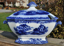 Lovely Antique Flow Blue Ironstone Lidded Sauce Tureen Staffordshire England
