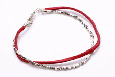 BLOOD RED SUEDE STRING & SILVER METAL CUBIC BEAD STRING CLASP BRACELET (ZX43)