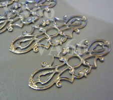 DIY Silver Filigree Lace Extension Chandelier Earrings Parts Spacers Findings