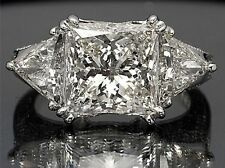5.48CT PRINCESS CUT THREE SOLITAIRE LADIES ENGAGEMENT RING IN 14KT WHITE GOLD