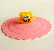 Cute Pink Silicone Watertight Cup Mug Lid Cover Cap with SpongeBob