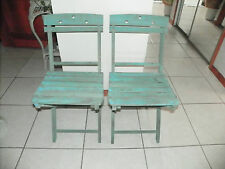 2 VINTAGE WOODEN FOLDING CHAIRS - GREAT PATINA COLOR - Estate Sale Find-LAST 2
