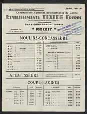 """LURY-sur-ARNON (18) CONSTRUCTIONS AGRICOLES / MOULINS """"TIXIER"""" TARIFS 1951"""