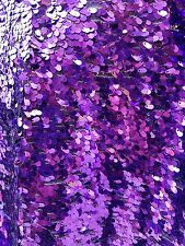 Purple Water/Tear Drops Sequins Drops on mesh Fabric sold by the yard