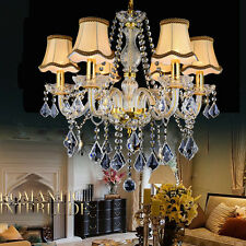 Elegant Luxury Crystal LED Pendant Lamp Farbic Shade Chandelier Light Fixture