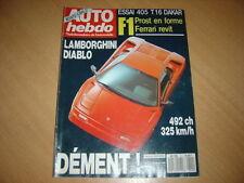 Auto hebdo N°711 Peugeot 405 T16.Diablo.Ferrari 640