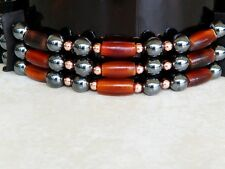 Native American Bone Choker Hematite Stones Copper Beads Pow Wow Regalia