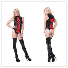 Sexy Catsuit Women Wet PVC Leather Black Party Costume Clubwear Jumpsuit+Stock