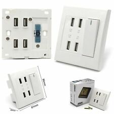 White 4-Port USB Wall Socket Charger AC Power Receptacle Outlet Plate Panel