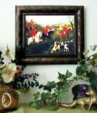 SALE Herberte SEEKING THE SCENT Horse Fox Hunt Print Antique Style Framed fh