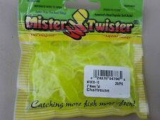 "Mister Twister meeny Tail mtsf20-10  3"" CHARTREUSE Qty 20 dropshot spinning fish"