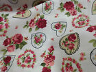 HEARTS & ROSES FLORAL 100% COTTON POPLIN FABRIC SHABBY CHIC VINTAGE QUILTING