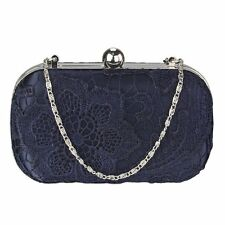 Navy Blue Satin Beaded Crystal Lace Clutch Bag Wedding Prom Party Evening New
