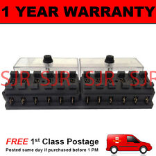 NEW 12 WAY UNIVERSAL STANDARD 12V 12 VOLT ATC BLADE FUSE BOX CLEAR KIT CAR