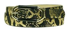 New NWT INC Belt Women's Snake Skin Oval Buckle Black Gold Metallic Large