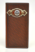 Nocona Rodeo Genuine Leather Western Men's Wallet w/Concho Star-Brown