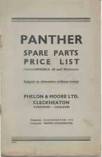 Panther Motorcycle Models 65 & 75 Original unillus. Spare Parts Price List 1950