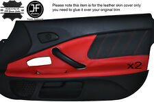 BLACK PERFORATED & RED LEATHER 2X DOOR CARD TRIM COVER FITS HONDA S2000 04-09