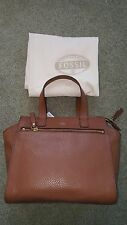 Fossil Tessa SHB1469200 Brown Genuine Pebble Leather MD Satchel wt dust bag NWT