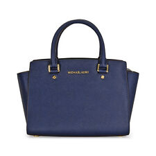 Michael Kors Selma Leather Satchel - Navy