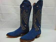Women's Elvis The King Blue Suede Boots by American Rebel size 5.5 B medium NEW