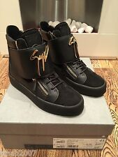 Giuseppe Zanotti Large Strap Logo Hi Top Leather Trainers Black Size UK 7 NEW