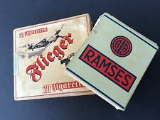 GERMAN empty cigarette packet box pair * 1940 FLIEGER Luftwaffe RAMSES Jasmatzi