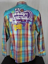COOGI The History Of Australia Embroidered Western Pearl Snap Plaid Shirt Men XL
