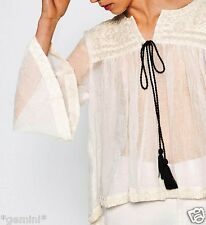 ZARA SIZE S EMBROIDERED LINEN JACKET KAFTAN BLOUSE LEINEN JACKE BLUSE STICKEREI