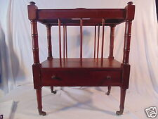 Vintage Wood Mahogany Magazine Rack Cart with Wheels and Drawer