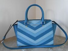 New MICHAEL KORS SELMA Medium CHEVRON Saffiano Leather Satchel NWT $348 SKY