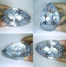 "IF 280+ cts Huge Pear Closed Cut (40x30 mm) Lab Clear White Diamond AAAAA ""5A""B4"