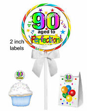 40 ~ 90TH BIRTHDAY PARTY FAVORS STICKERS LABEL for lollipops, seal, tags , etc.