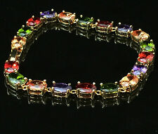 14k Gold GF Tennis Bracelet made w/ Authentic Swarovski Crystal Multicolor Stone