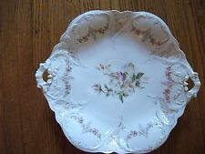 CT Carl Tielsch Germany Antique Handpainted Serving Bowl Open Handles Pink Rose