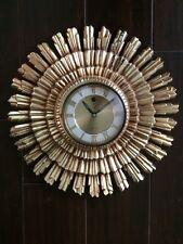 Vintage WELBY Mid Century Gold Starbust 8 Day Wall Clock Wind Up NO KEY *AS IS*