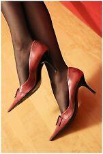 Decolletè di vera pelle nere rosa, tacco a spillo - Scarpe Usate High Heels