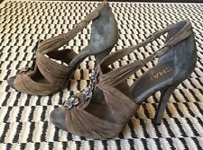 Chanel Suede Camellia Accented Shoes Sandals Heels Olive Green Grey Size 38.5 8
