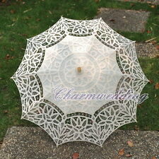 Wedding Cotton IVORY Full Batten Lace Parasol Wedding Bridal Umbrella Handmade