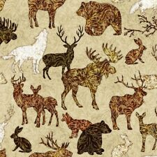 Woodland Spirit cotton quilt fabric BTY Quilting Treasures Moose Bear Rabbit BRN