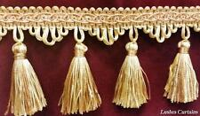 "Gold & Copper Tone 3"" Tassel Trim Fringe By The Yard Curtain/Craft/Upholstery"