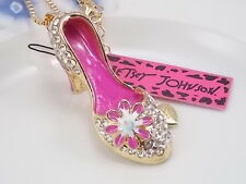 Betsey Johnson fashion jewelry Cute White Crystal high heels pendant necklace
