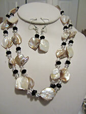 Two StrandNatural Mother Of Pearl And Black Faceted Glass Bead Necklace Earring
