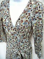 BCBG MAXAZRIA Womens Brown White Blue Geo Stretch Jersey Faux Wrap Dress XS